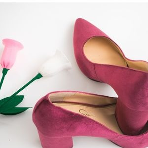 Jessica Simpson Lindly pink velvet heels 8.5